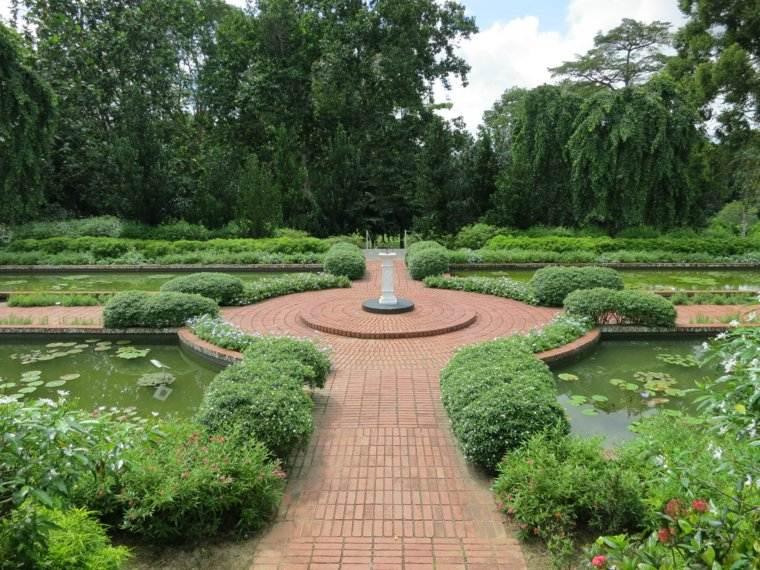 jardin clasico caminos estanques plantas ideas