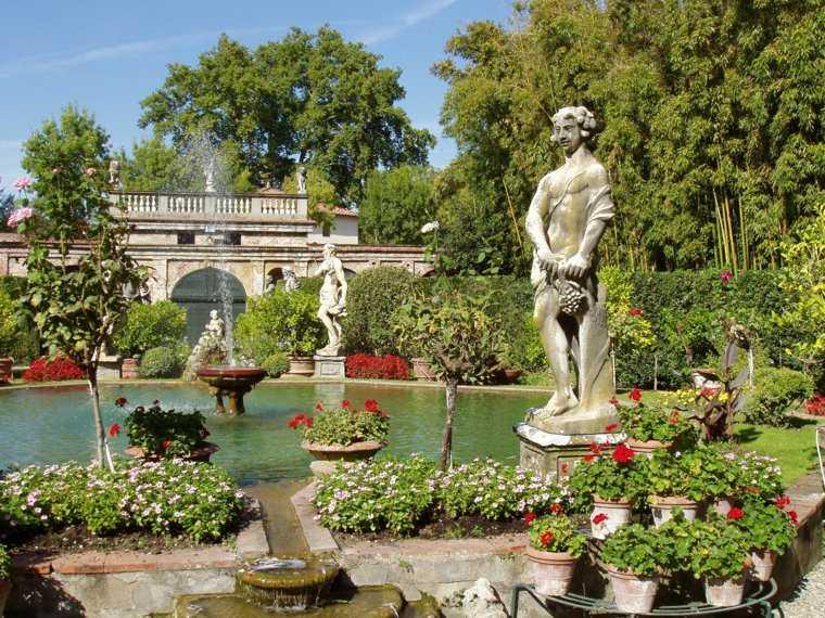 jardin clasico diseno fuentes estanque ideas