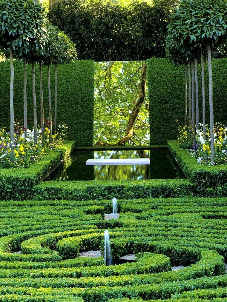 jardin clasico diseno geimetrico plantas ideas