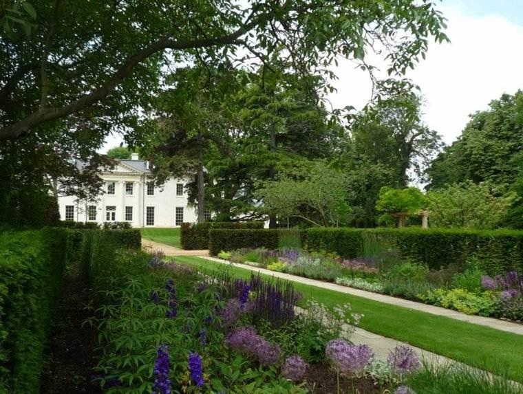 jardin clasico mansion entrada cesped ideas