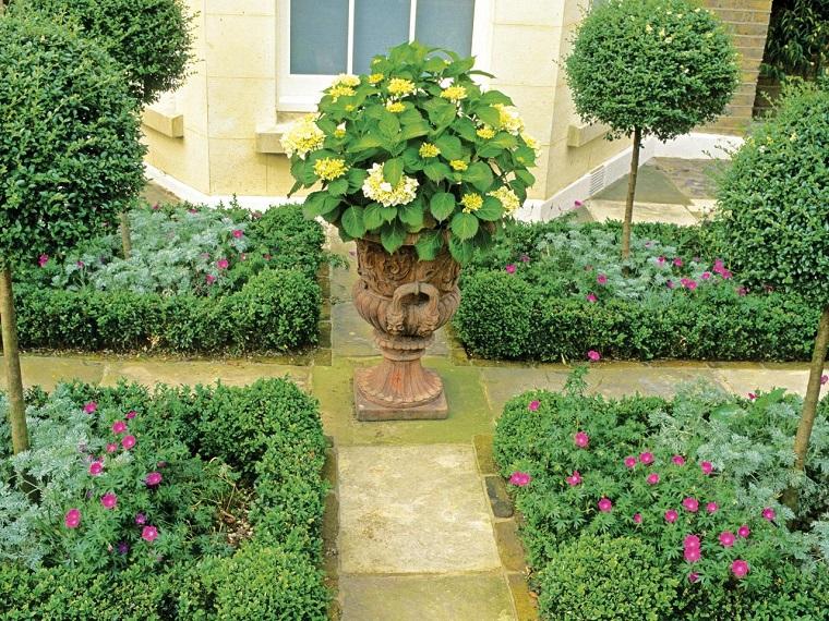 jardin clasico opciones caminos losas maceta ideas