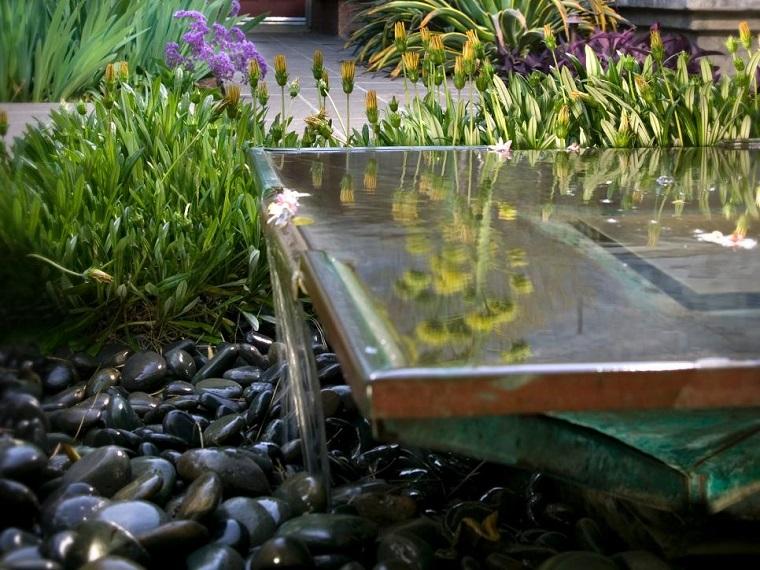 jardin diseno fuente contemporranea ideas