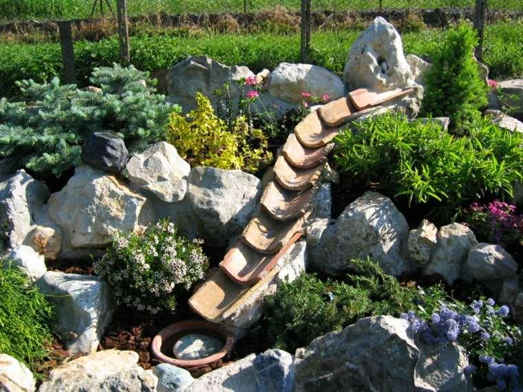 jardin diseno plantas piedras agua ideas