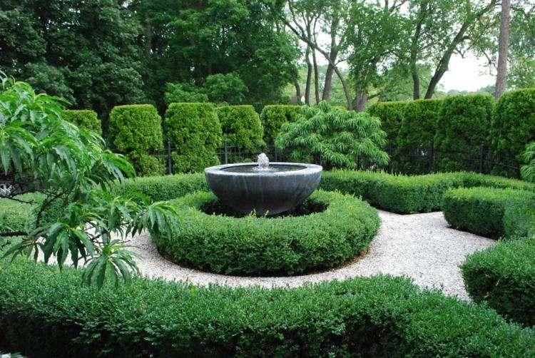 jardin estilo clasico fuente agua ideas