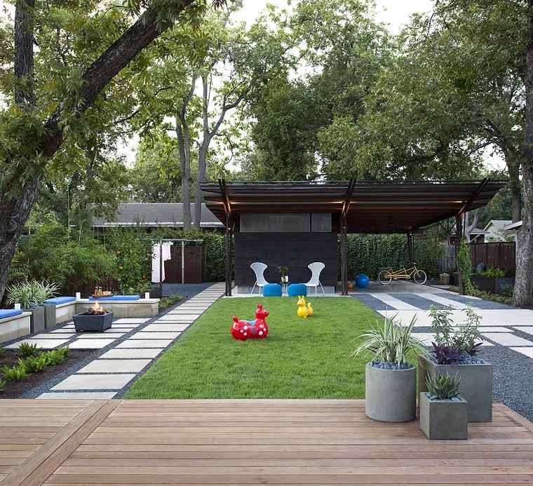 Dise o de jardines 50 ideas frescas y modernas for Diseno de jardin moderno