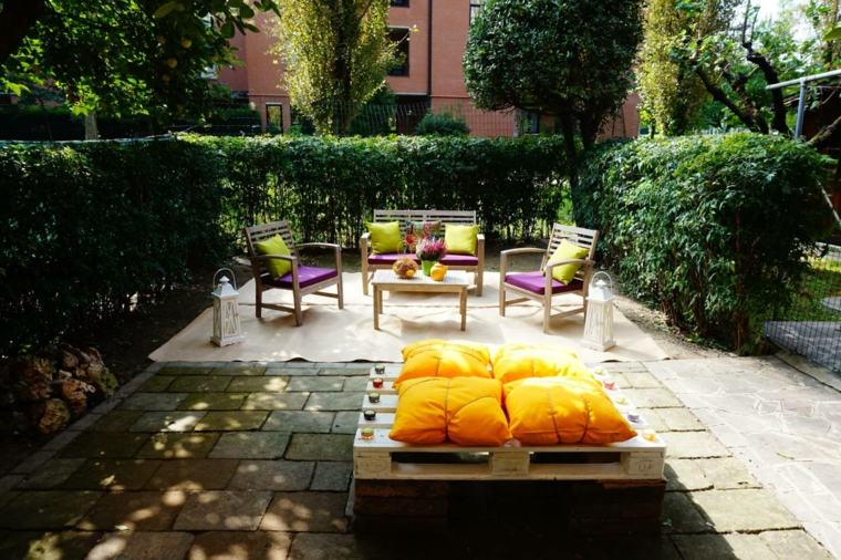 jardin muebles palets reciclados coloriso ideas