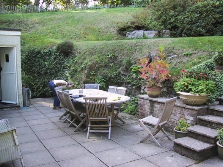 jardín nivelado bordes terrazas