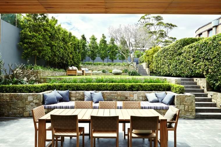 jardin niveles escaleras muebles cesped opciones ideas