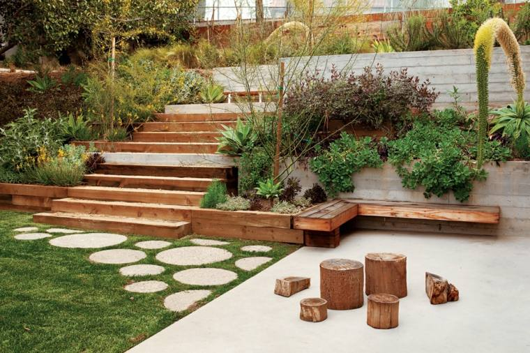 jardin niveles madera cesped escaleras ideas