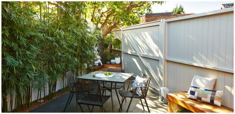 jardin pequeno estrecho bambu ideas
