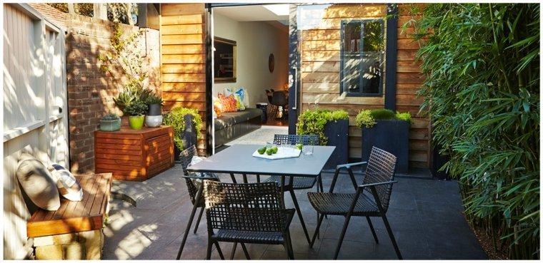 jardin pequeno muebles comidas aire libre ideas