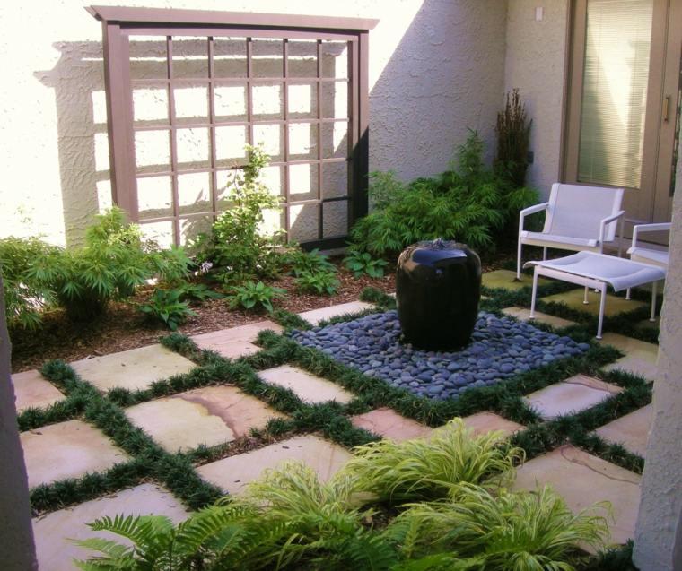 jardin pequeno piedras fuente color negro ideas