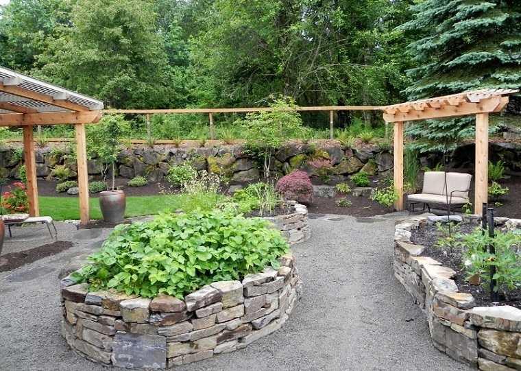 jardin pozos piedra plantas plantas ideas