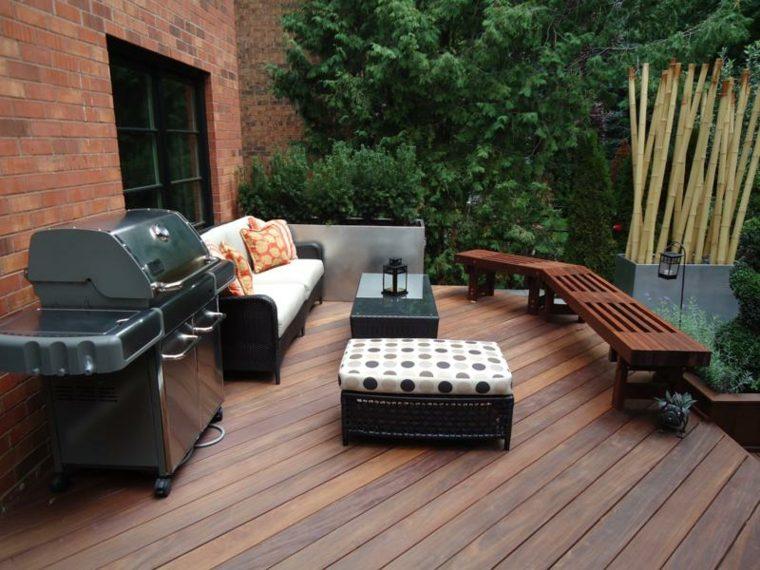 jardin terraza barbacoa muebles madera ideas