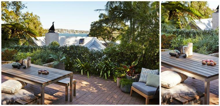 jardin terraza mesa bancos aire libre comidas ideas