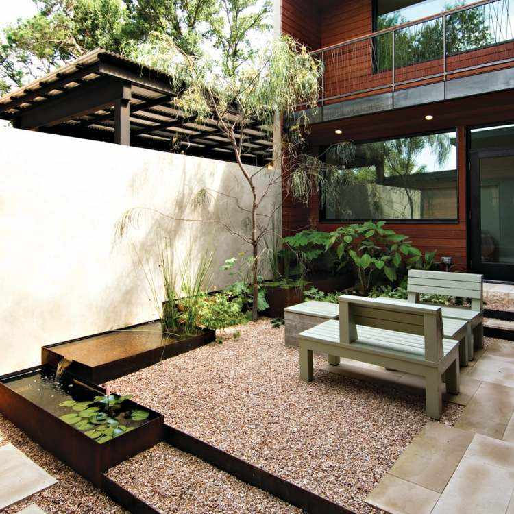 jardin terrazas acero corten agua opciones ideas