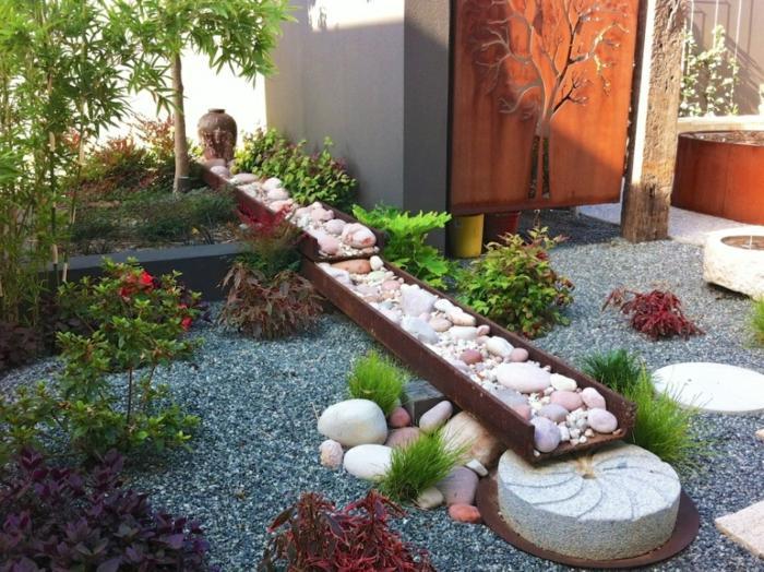 jardin zen botellas marionetas rocas sentidos
