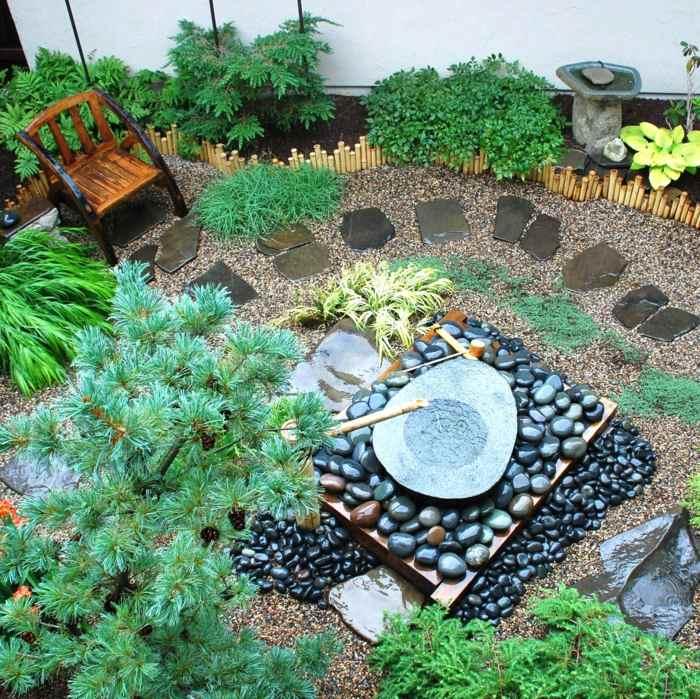 jardin zen detalles agua bambu fragmentos