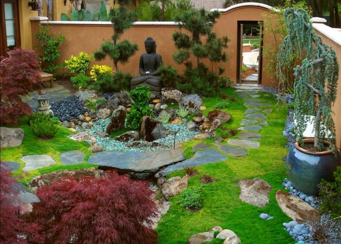 jardin zen detalles color intensos naranja
