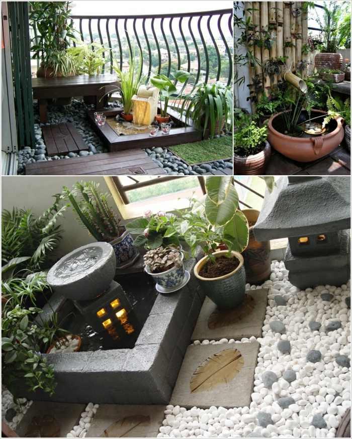 jardin zen detalles exteriores flores