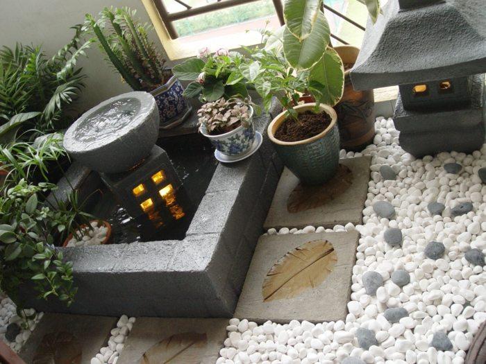 jardin zen detalles lamparas blanco velas