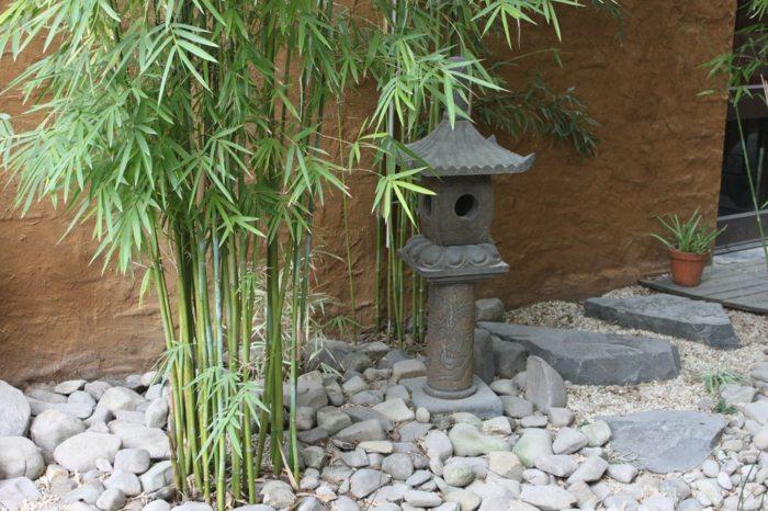 jardin zen muros conceptos rocas madera