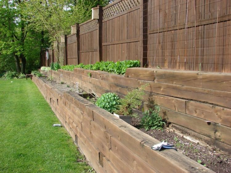 jardineras borde madera natural