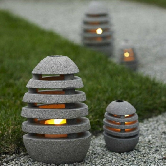 jardines luminarias color natural suelos cemento
