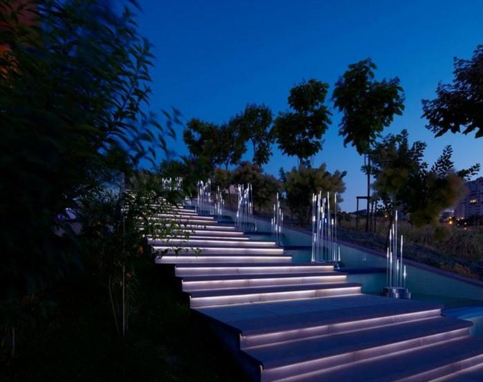 jardines luminarias colores muestras escalones