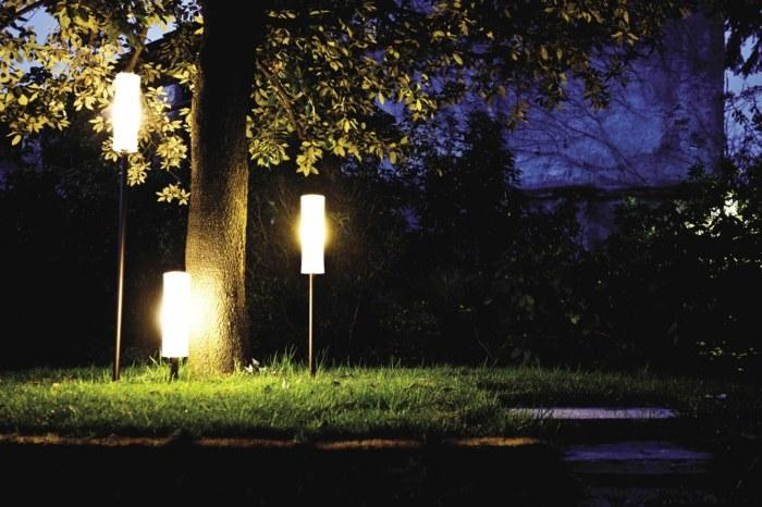 jardines luminarias colores señales enterradas arboles