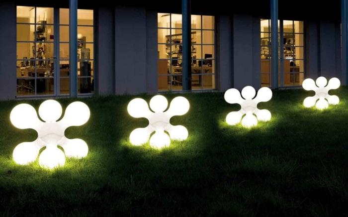 jardines luminarias muestras colores plantas