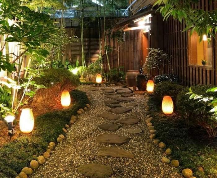 jardines luminarias muros condiciones tropical senderos