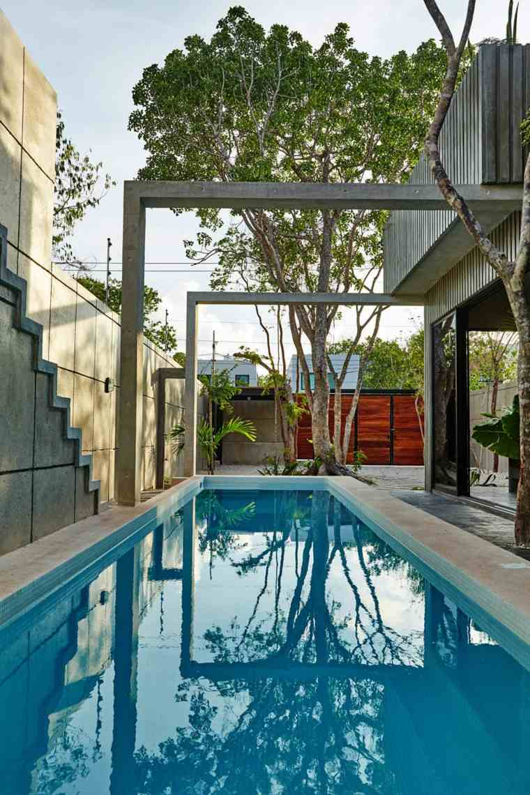 jardines modernos con piscina larga ideas
