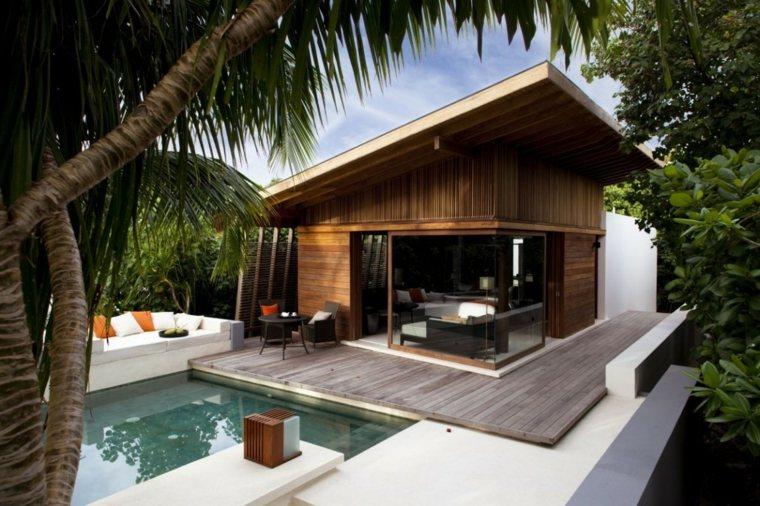 jardines modernos con piscina muebles blancos ideas