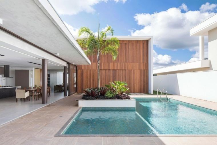 jardines modernos con piscina palmera ideas