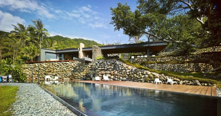 jardines modernos con piscina valla pierdas ideas