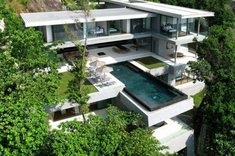 jardines modernos piscina alto colina ideas