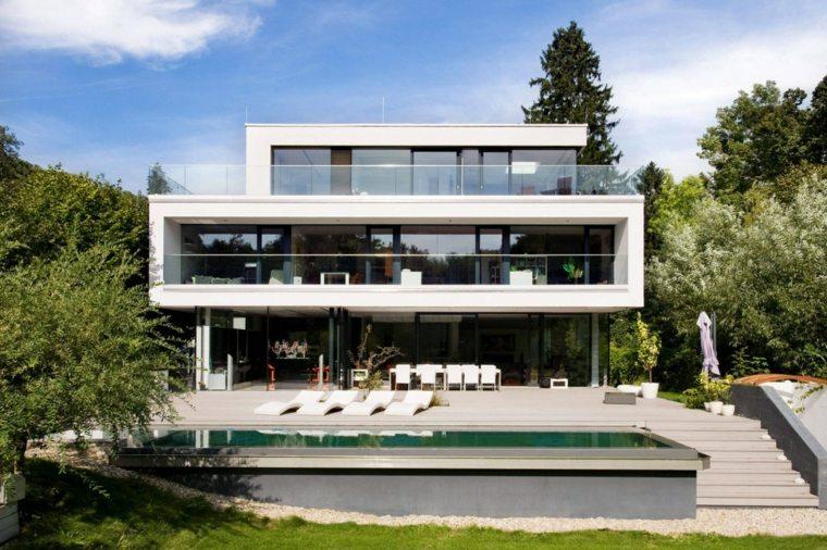 jardines modernos piscina casa diseno contemporaneo ideas