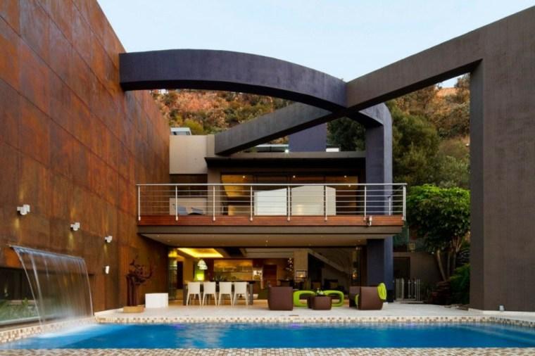 jardines modernos piscina fuente agua ideas