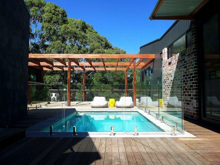 jardines modernos piscina pergola madera ideas
