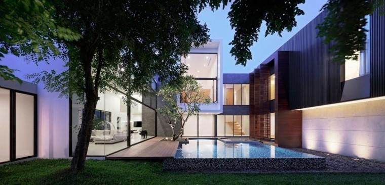jardines-modernos-piscina-piedras-madera