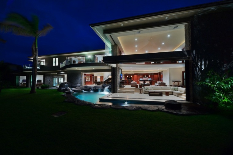 jardines modernos piscina rodea casa ideas