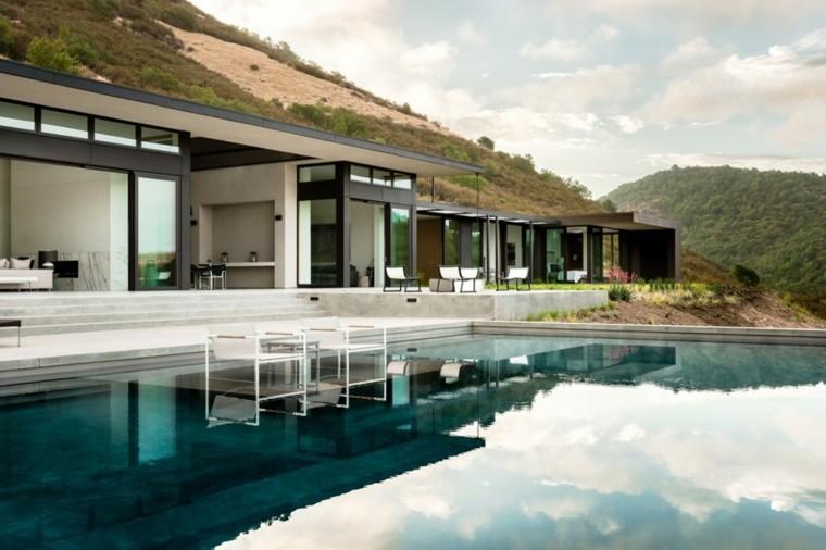 jardines modernos piscina sillones dentro ideas
