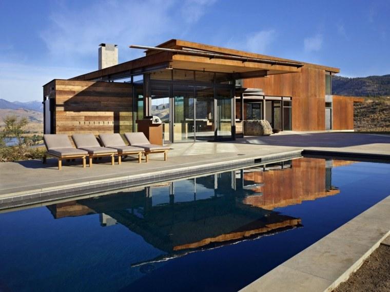 jardines modernos piscina tumbonas madera ideas
