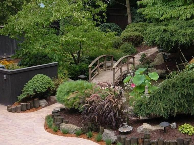 Puente en el jard n cincuenta y nueve ideas para for Jardines japoneses modernos