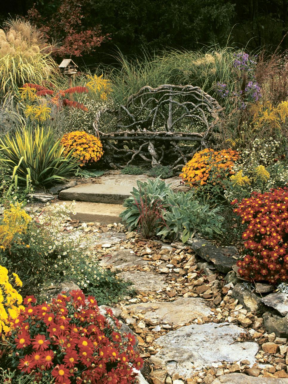 jardines rusticos banco original flores preciosas ideas