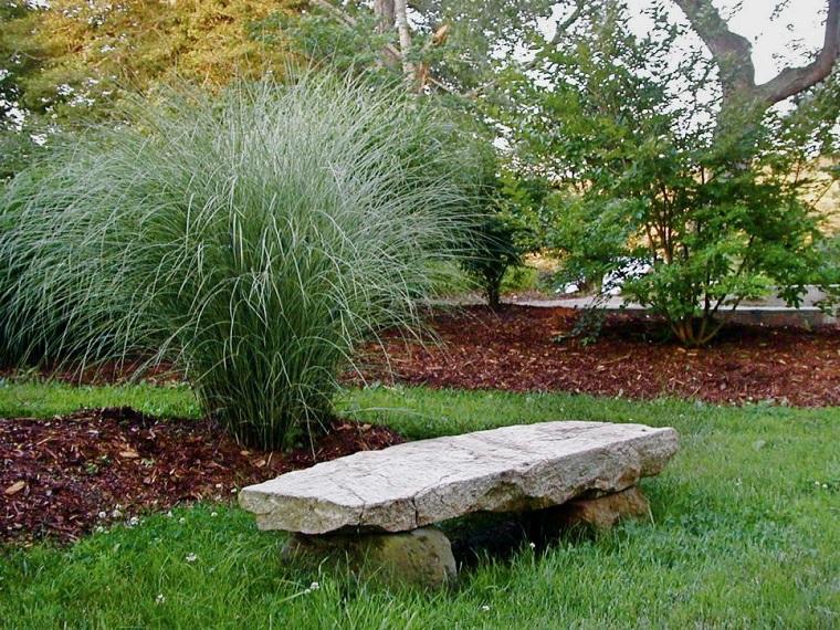 jardines rusticos banco piedra cesped ideas
