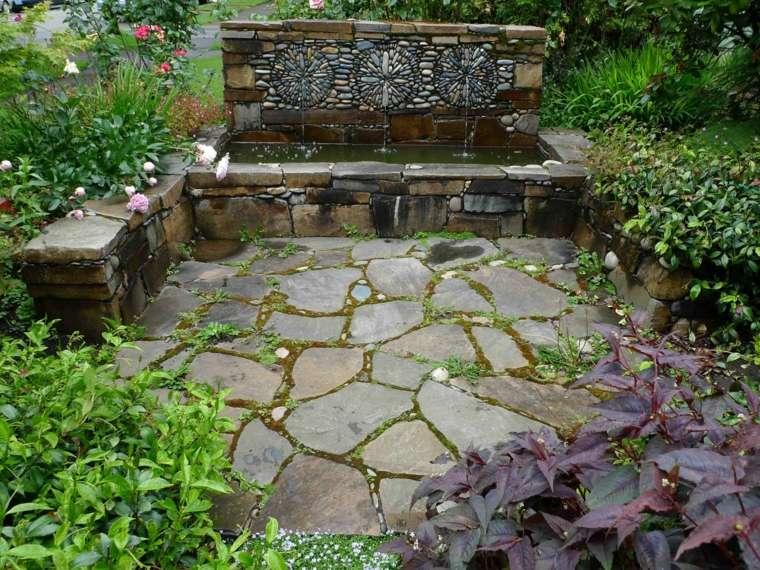 jardines rusticos fuente agua losas ideas