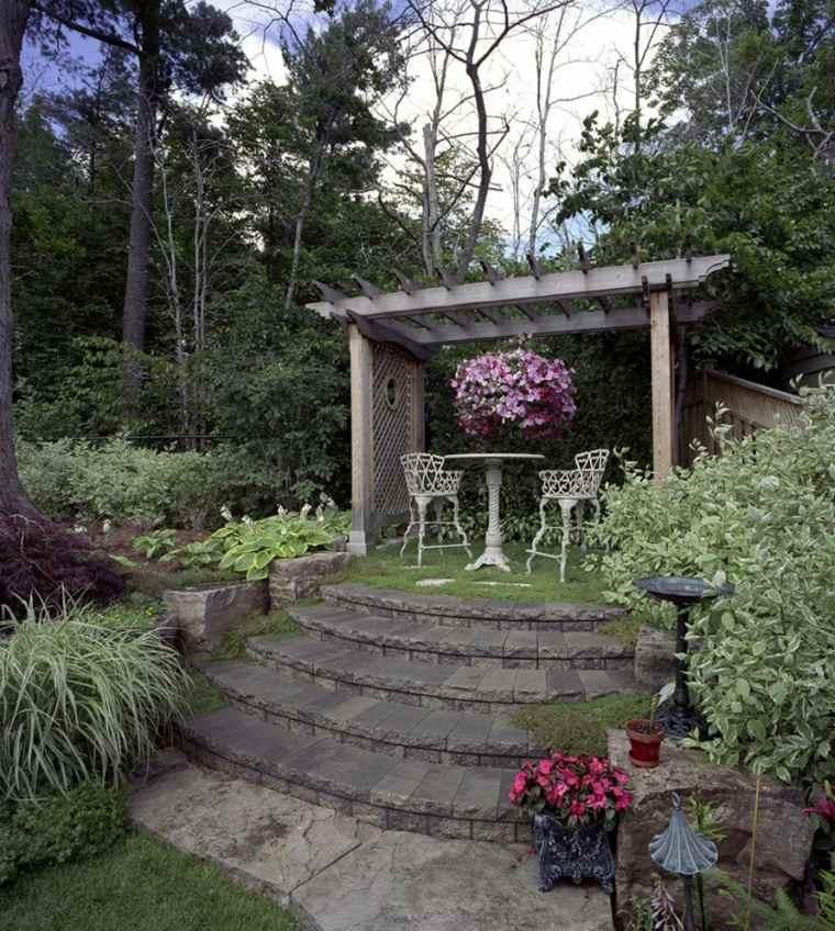 jardines rusticos pergola madera sillas estilo victoriano ideas