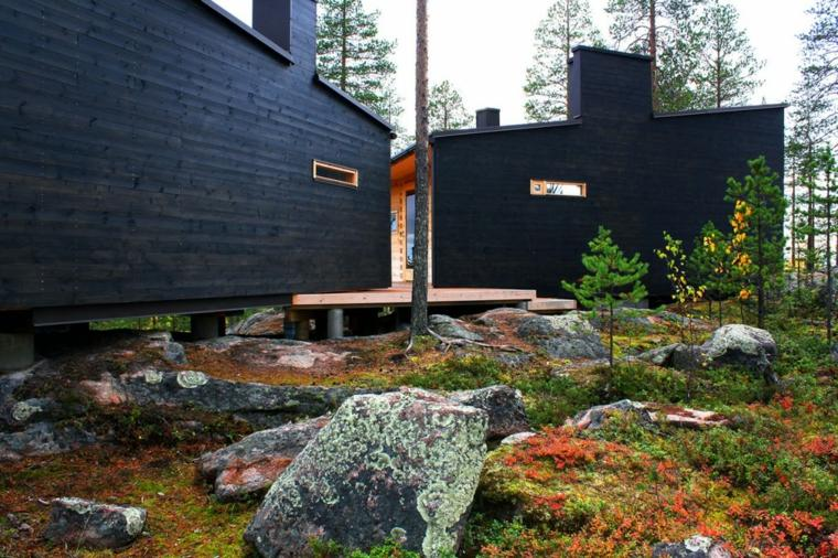 jardines rusticos piedras grande moho casa moderna ideas